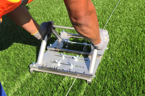 Knife Cut White Lines Circles Synthetic Grass Football Pitch